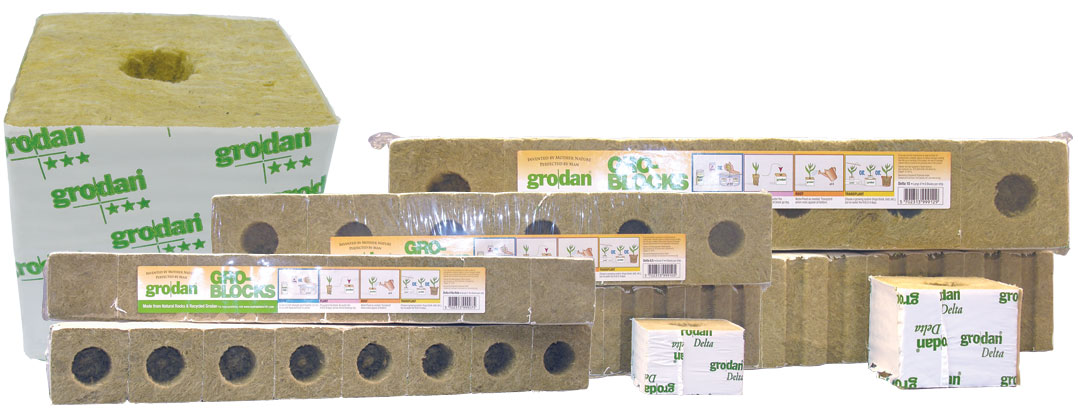 "GRODAN� STONEWOOL GRO-BLOCKS� - DELTA� 10 - MEDIUM 4"" W/ HOLES - 4"" X 4"" X 4"" (6 BLOCKS/STRIP) (24 STRIPS/CASE)"