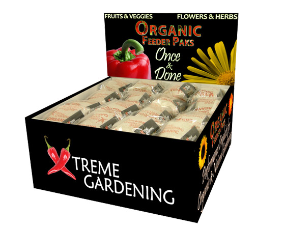 Xtreme Gardening Organic Feeder Paks Six Pack Display