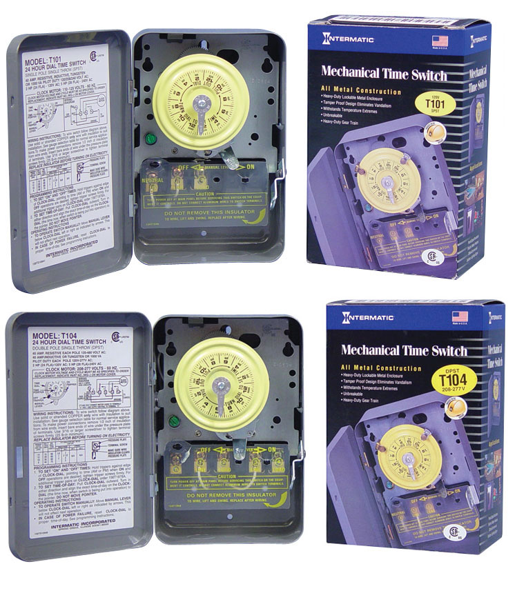 INTERMATIC T101 HEAVY DUTY CONTRACTOR GRADE TIME SWITCH W/METAL CASE 40 AMP 120 VOLT