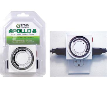 TITAN CONTROLS® APOLLO 8™ TWO OUTLET 24 HOUR ANALOG TIMER WITH 15 MINUTE INTERVALS (10/CASE)