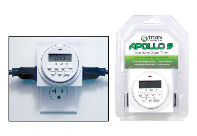 TITAN CONTROLS® APOLLO 9™ TWO OUTLET 24 HOUR DIGITAL TIMER WITH 15 MINUTE INTERVALS (10/CASE)