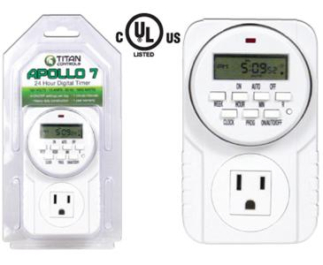 TITAN CONTROLS® APOLLO 7™ 24 HOUR DIGITAL TIMER WITH 15 MINUTE INTERVALS (10/CASE)