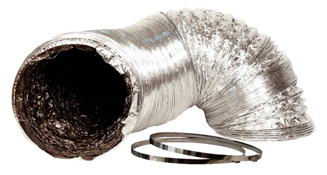 8IN X 25FT SILVER/BLK DUCTING W/O CLAMP