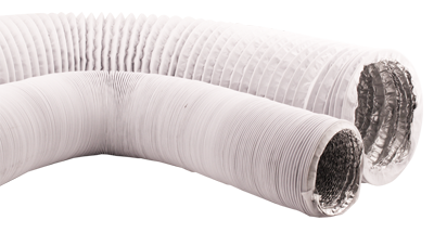 Ideal-Air White/Silver Vinyl Light Tight Ducting 8in x 25ft
