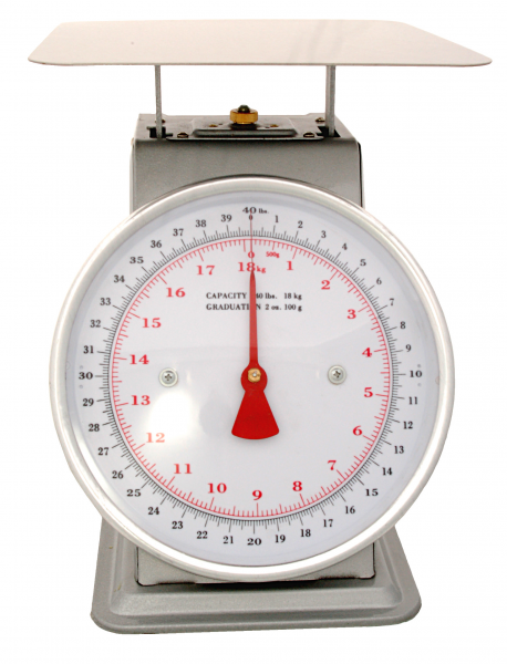 "ACCUZEN SCALE WITH POUNDS & KILOGRAMS ON DIAL 40 lb /18 Kg - 9"" x 9"" stainless"