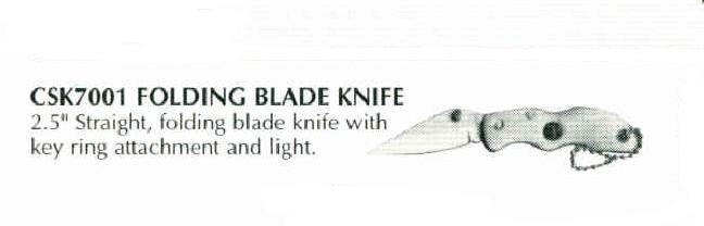 Straight Folding Blade Knife w/ Light