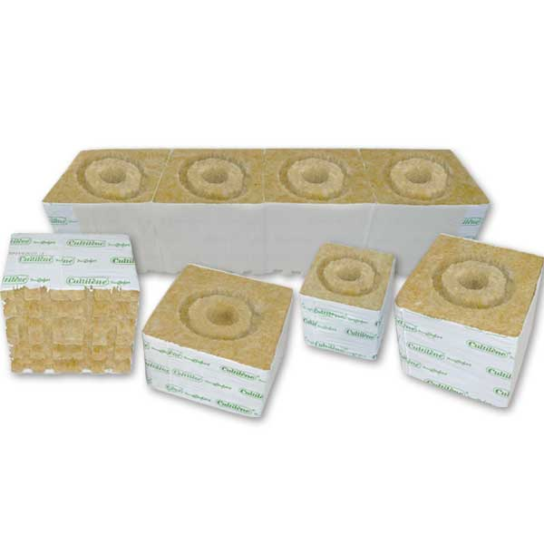 Plant Comfort 4 x 4 x 4 Rockwool Blocks w/ Drip Ring (Strips of 6) Case of 24 Strips = 144 Blocks