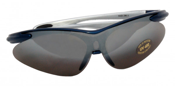 ZEN TEK Stylish Blue Frame Curved UV-Treated Safety Glasses, w/UV coating