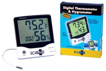 ECOPLUS� LARGE DISPLAY WATERPROOF INDOOR/OUTDOOR THERMOMETER & HYGROMETER