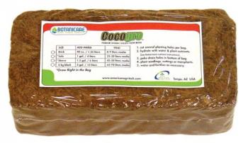 BOTANICARE® COCOGRO™ PREMIUM SOILESS ORGANIC GROW MEDIA COMPRESSED COIR FIBER BALE 650 GRAMS = 8 LITERS  WHEN HYDRATED