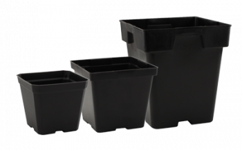"Black Plastic Pot - 4"" x 4"" x 3.5"""