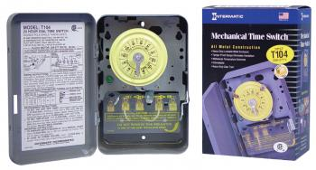 INTERMATIC T104 HEAVY DUTY CONTRACTOR GRADE TIME SWITCH W/METAL CASE 40 AMP 208 TO 277 VOLT