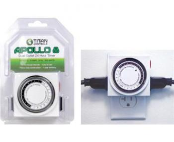 TITAN CONTROLS� APOLLO 8� TWO OUTLET 24 HOUR ANALOG TIMER WITH 15 MINUTE INTERVALS (10/CASE)