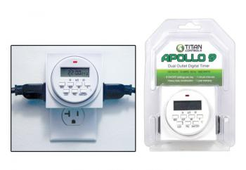 TITAN CONTROLS� APOLLO 9� TWO OUTLET 24 HOUR DIGITAL TIMER WITH 15 MINUTE INTERVALS (10/CASE)