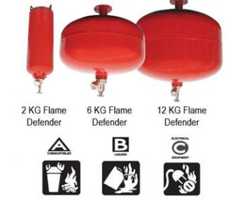 FLAME DEFENDER FIRE EXTINGUISHER - 13.2 lbs / 6 KG Covers 6' (1.8 meters diameter)