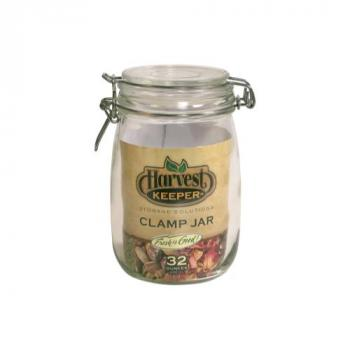 Harvest Keeper Glass Storage Jar w/ Metal Clamp Lid - 24 oz (Case of 24)