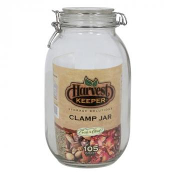 Harvest Keeper Glass Storage Jar w/ Metal Clamp Lid - 105 oz (Case of 6)