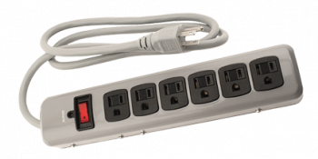 Power All Indoor Metal Surge Strip 6 Outlet 125 Volt 4ft Cord 14 Gauge 15 Amp