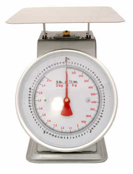 "ACCUZEN SCALE WITH POUNDS & KILOGRAMS ON DIAL 5 lb / 2 Kg - 9"" x 9"" stainless"