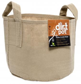 Dirt Pot Flexible Portable Planter, Tan, 400 Gallon, with handles