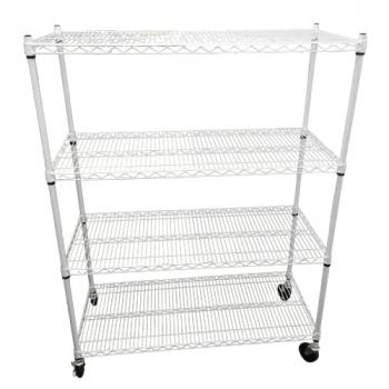 "Wire Rack 48""x20""x60"" 4 Tier w/ Casters - White"
