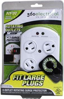 360 degree Rotating Outlets Surge Protector 4 grounded outlets