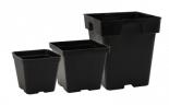 "724044 Black Plastic Pot - 4"" x 4"" x 3.5"""