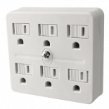Power All 6 Outlet Grounded Adapter 125 Volt 15 Amp