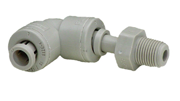 "Replacement 1/8"" OD or 1/4"" ID Plastic Swivel Elbow."
