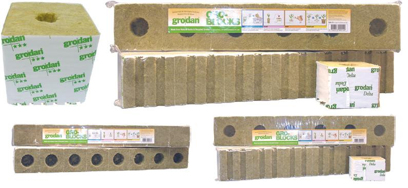 "GRODAN� STONEWOOL GRO-BLOCKS� - HUGO 6 - LARGE 6"" W/HOLES - 6"" X 6"" X 5.8"" (1 BLOCK/STRIP) (48 STRIPS/CASE)"
