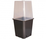 "hf-PB50080 8"" Black Square Pot with Humidity Dome"