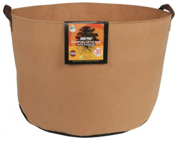 Gro Pro Essential Round Fabric Pot w/ Handles 30 Gallon - Tan (30/Cs)