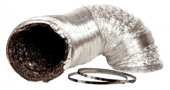 6IN X 25FT SILVER/BLK DUCTING W/O CLAMP