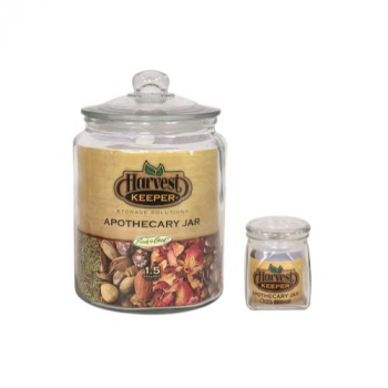 Harvest Keeper Glass Storage Apothecary Jar w/ Sealed Lid - 1 Gallon (Case of 6)