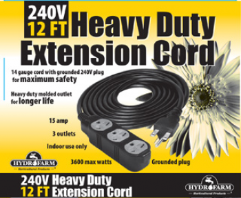 Amazing Hydrofarm 240V Extension Cord With 3 Outlets 12 Ft Eco 4487 Wiring Cloud Peadfoxcilixyz