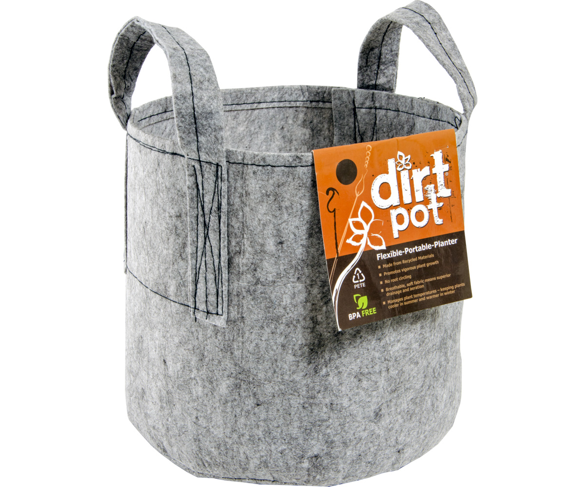 Dirt Pot Flexible Portable Planter, Grey, 200 gal, with handles