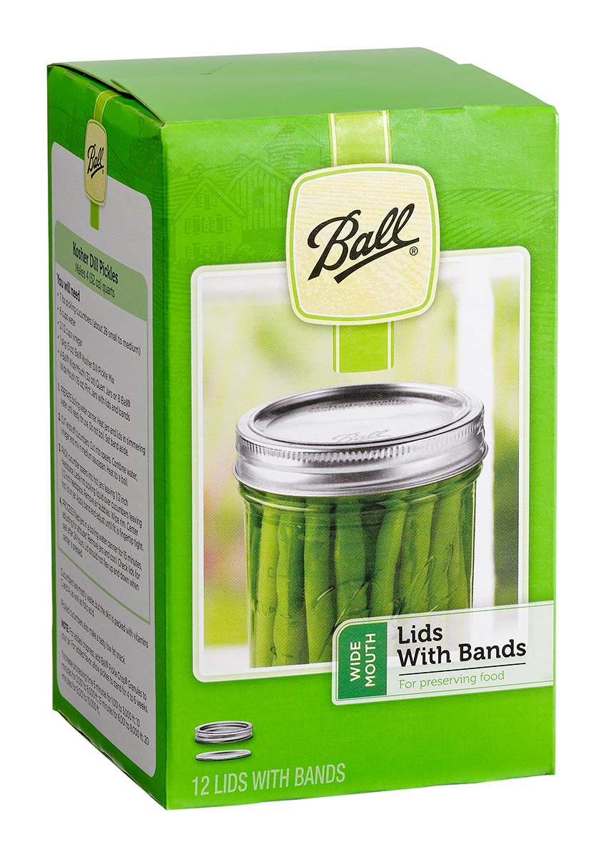 Ball Jar Wide Mouth Lids & Bands, pack of 12