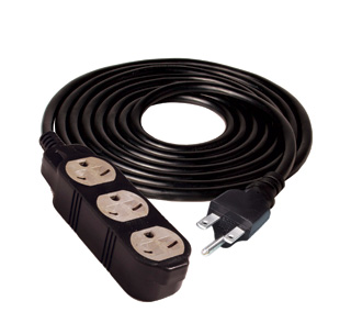 240v Extension cord with 3 outlets - 12 ft.